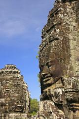 Stone faces of Bayon temple, Angkor area, Cambodia