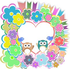 owls, birds love heart and flowers