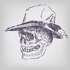 Zeichnung Schädel mit Hut