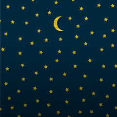 Fototapete - Moon and stars from paper