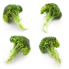 collection of broccoli isolated on white