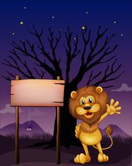 A lion waving beside an empty board