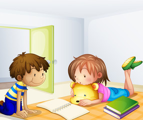 Children studying in a room