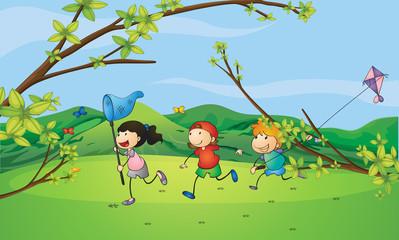Kids catching the butterflies