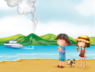 Garden Poster Dogs A young girl and a young boy strolling at the beach