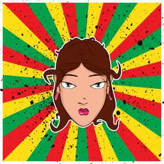 Beautiful girl head on the rasta background. Vector illustration