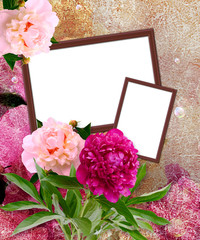 Peony and photo frame