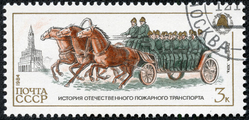 stamp printed in Russia, shows Crew wagon