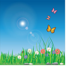 Keuken foto achterwand Vlinders Vector illustration of spring with colorful flowers