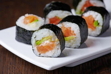 sushi with salmon and avocado