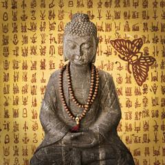 Bouddha vintage fond coréen papillon