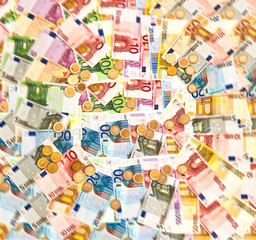 coins and banknotes. euro currency background