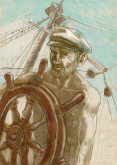 sea captain - hand drawing