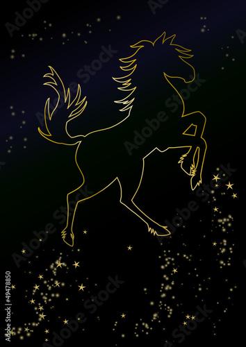 chinesisches horoskop pferd am sternenhimmel stockfotos. Black Bedroom Furniture Sets. Home Design Ideas