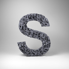 Letter S made out of scrambled small letters in studio setting