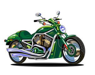 Keuken foto achterwand Motorfiets vector isolated green motorcycle