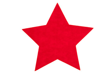 Red felt star isolated on a white background