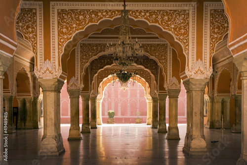 Wall mural royal interior in Jaipur palace, India