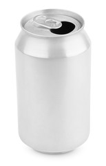 Opened aluminum soda can isolated on white with clipping path