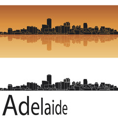 Adelaide skyline in orange background