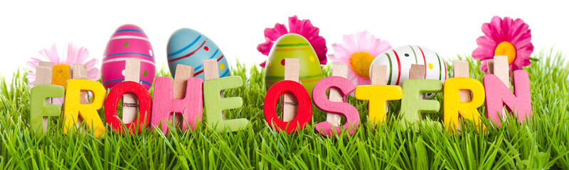 Frohe Ostern Text mit Wiese Banner