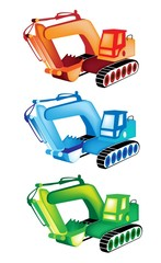 A Colorful Illustration Set of Excavator Icons