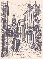 Foto op Canvas Illustratie Parijs Vector cityscape. Young couple walking on the old street