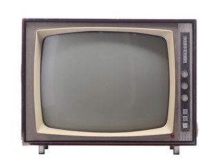 vintage television isolated on white background