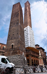 square with The towers in Bologna