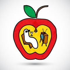 Apple with a worm in doodle style