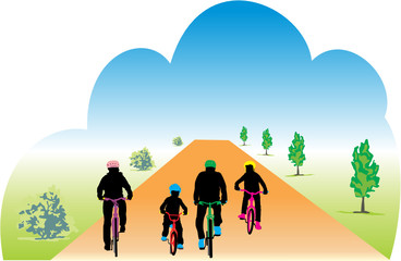 Wall Mural - FAMILLE A BICYCLETTE