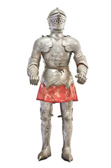 Foto op Canvas Ridders Medieval knight armour over white isolated background