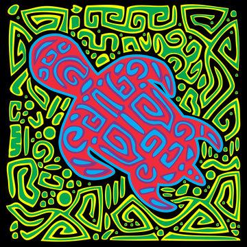 Turtle folk tribal -Tortoise vector