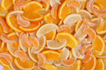 Tuinposter Plakjes fruit Fruits Backgrounds - Orange, Lemon and Mandarin