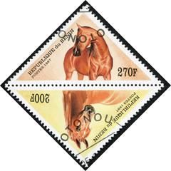 stamp printed in Benin showing horse