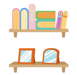 Bookshelf with books .vector