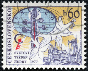 stamp printed in CZECHOSLOVAKIA shows World Music Week