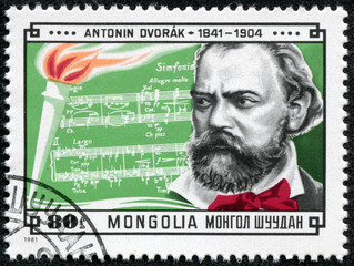 stamp shows notes of symphony written by Dvorak