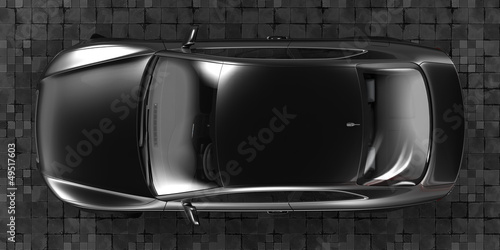 Luxury Sport Sedan Car Top View 3d Rendering Stock Photo And