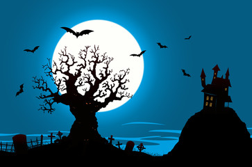 Halloween Poster - Haunted House And Evil Tree