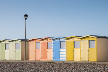 Beach Huts at Seaford, Sussex, UK