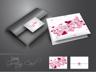 Beautiful greeting card with text love on grey background.