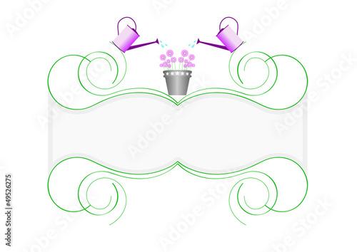 Blason Printemps 2 Arrosoirs Avec Pot De Fleurs Stock Image And