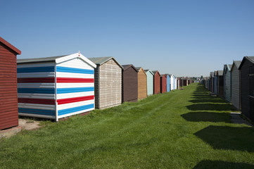 Beach huts at Dovercourt, near Harwich, Essex, UK.