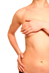 Female body with a breast covered isolated on white background