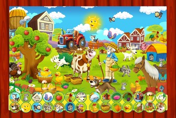 Poster Ranch The page with exercises for kids - farm finding