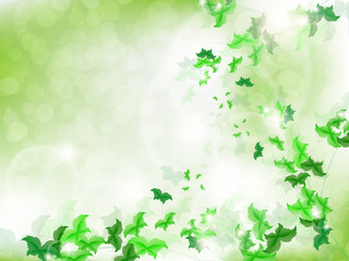 Environmental Background with green leaf butterflies