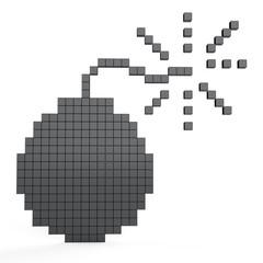 Poster Pixel 3D cubes bomb