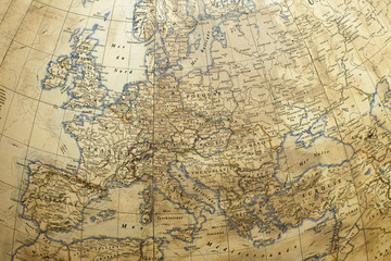 very old antique globe with Europe detail