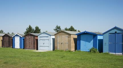 Beach huts at Dovercourt, near Harwich, Essex, UK.